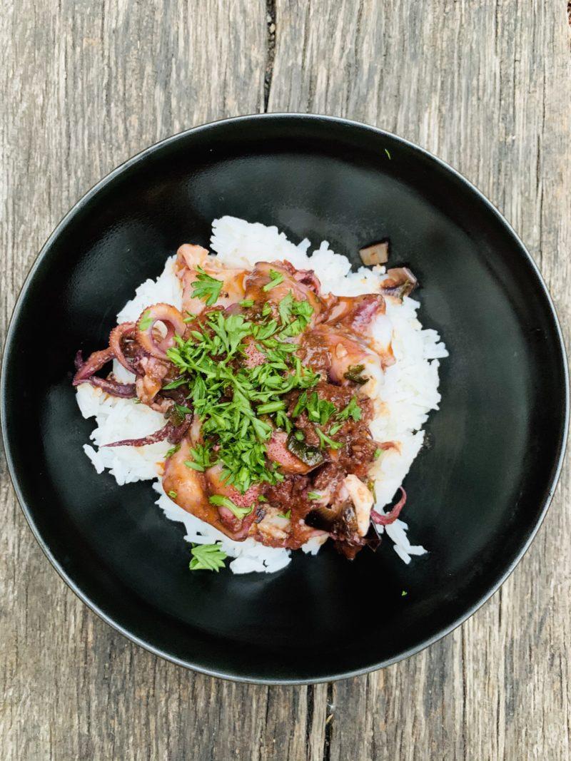 calamares a la bruta con sobressada y arroz