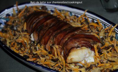 Roti de lotte aux chanterelles cuit