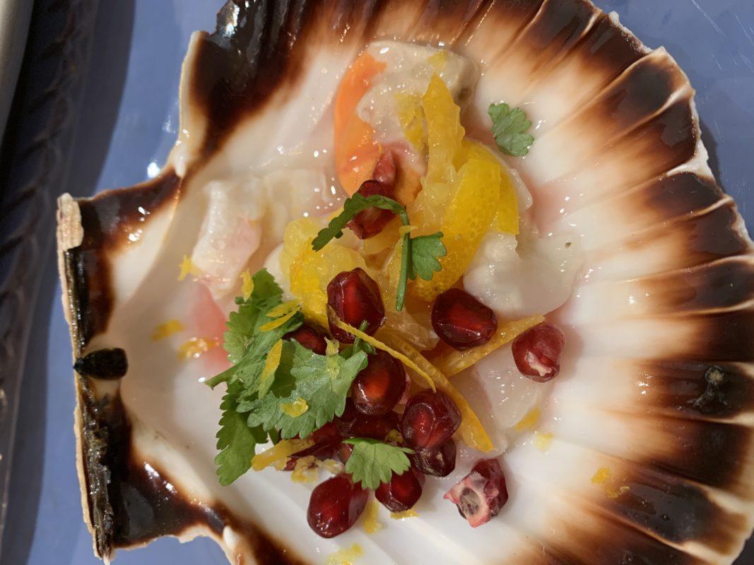 St jacques agrume et grenade, kumquats et bergamote