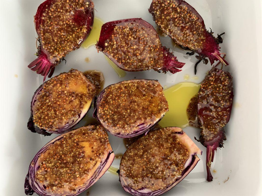 minis choux rouge et minis betteraves rötis au four