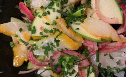 poisson cru et agrume, orange et haddock