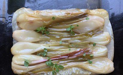 tarte aux échalottes nouvelles caramélisées sur pâte filo
